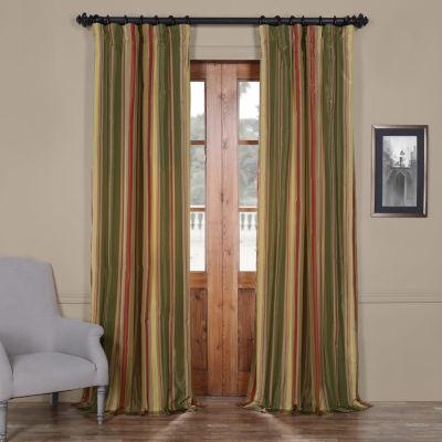 Exclusive Fabrics & Furnishing Mirage Faux Silk Taffeta Stripe Curtain Panel