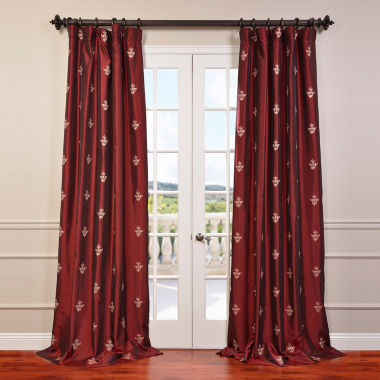 Exclusive Fabrics & Furnishing Trophy Syrah Embroidered Faux Silk Taffeta Curtain Panel