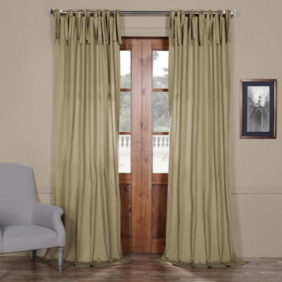 Exclusive Fabrics & Furnishing Solid Cotton Tie-Top Curtain Panel