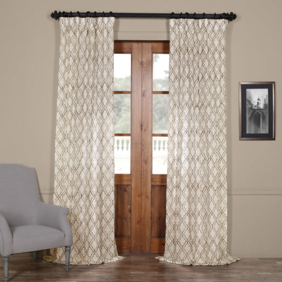 Exclusive Fabrics & Furnishing Saida Embroidered Faux Linen Curtain Panel