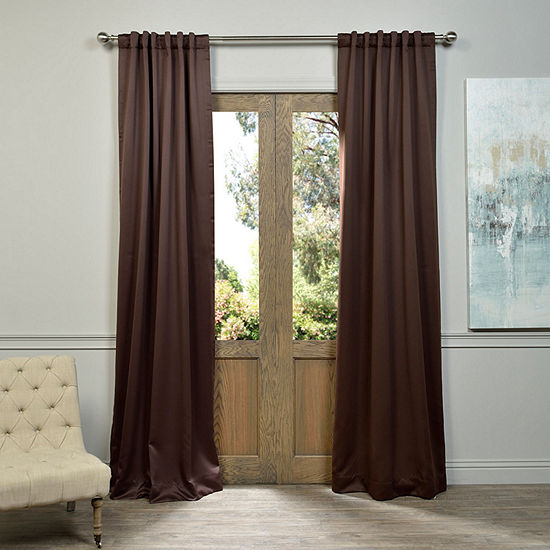 Exclusive Fabrics & Furnishing Solid Blackout Rod-Pocket/Back-Tab Single Curtain Panel