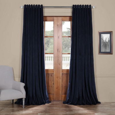 Exclusive Fabrics & Furnishing Signature Extra Wide Grommet-Top Blackout Velvet Curtain Panel