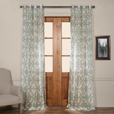 Exclusive Fabrics & Furnishing Seaglass Grommet-Top Printed Sheer Curtain Panel
