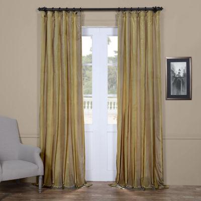 Exclusive Fabrics & Furnishing Riviera Faux Silk Taffeta Stripe Curtain Panel