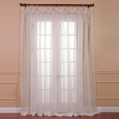 Exclusive Fabrics & Furnishing Solid Extra Wide Voile Poly Sheer Curtain Panel