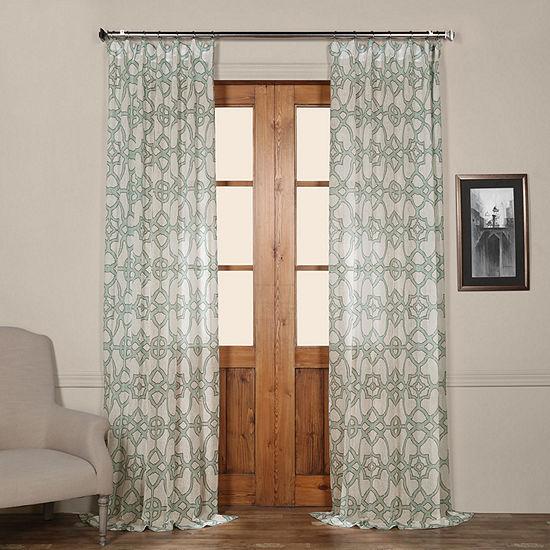 Exclusive Fabrics & Furnishing Printed Faux Linen Rod-Pocket Single Sheer Curtain Panel