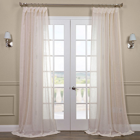 Exclusive Fabrics & Furnishing Open Weave Linen Rod-Pocket Single Sheer Curtain Panel