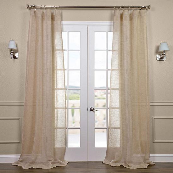 Exclusive Fabrics & Furnishing Open Weave Linen Rod-Pocket Single Sheer Curtain Panel