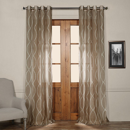 Exclusive Fabrics Furnishing Grecian Grommet Topprinted Sheer Curtain Panel