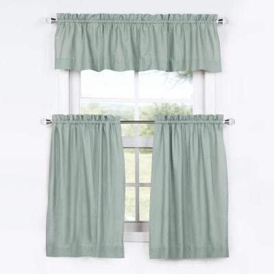 Exclusive Fabrics & Furnishing Solid Cotton 3-pc.Kitchen Curtain Set