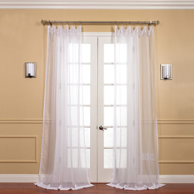Exclusive Fabrics & Furnishing Solid Voile Poly 2-Pack Sheer Curtain Panels