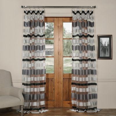 Exclusive Fabrics & Furnishing Organza HorizontalStripe Sheer Curtain Panel