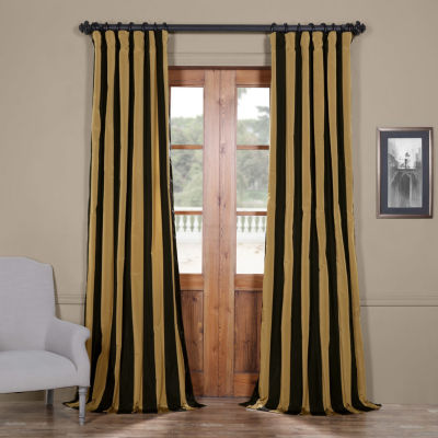 Exclusive Fabrics & Furnishing Regency Faux Silk Taffeta Stripe Curtain Panel