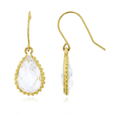 6 CT. T.W. Simulated White Cubic Zirconia 14K Gold Pear Drop Earrings