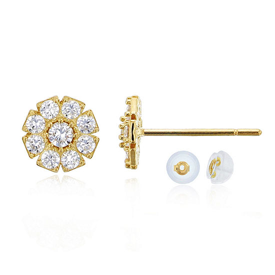 1/2 CT. T.W. Simulated White Cubic Zirconia 14K Gold 6mm Flower Stud Earrings