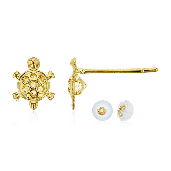 1/3 CT. T.W. Simulated White Cubic Zirconia 14K Gold 5mm Stud Earrings
