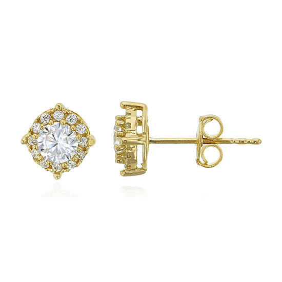 7/8 CT. T.W. Simulated White Cubic Zirconia 14K Gold 6mm Round Stud Earrings