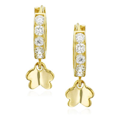 3/8 CT. T.W. Simulated White Cubic Zirconia 14K Gold Butterfly Drop Earrings