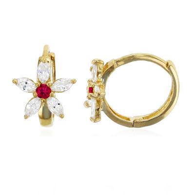 1 1/5 CT. T.W. Simulated Multi Color Cubic Zirconia 14K Gold 10mm Flower Hoop Earrings