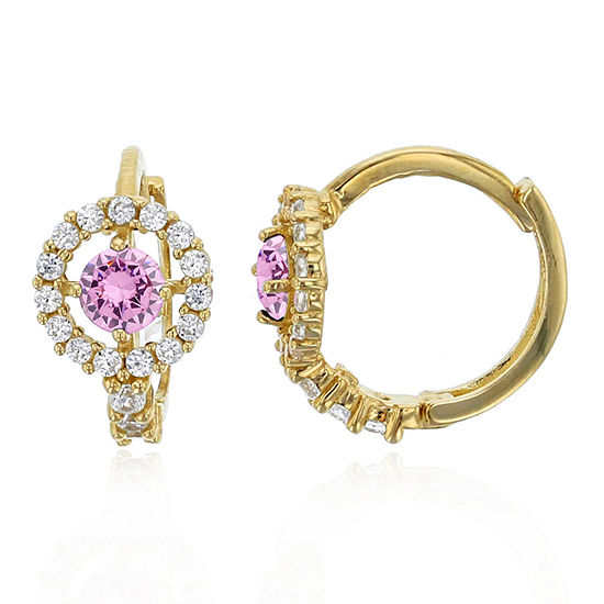 3/4 CT. T.W. Simulated Multi Color Cubic Zirconia 14K Gold 10mm Round Hoop Earrings