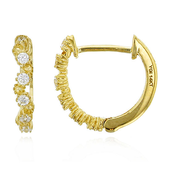 1/4 CT. T.W. Simulated White Cubic Zirconia 14K Gold 11mm Hoop Earrings