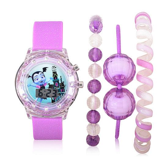 Disney Collection Girls Purple Watch Boxed Set-Vmp40000jc