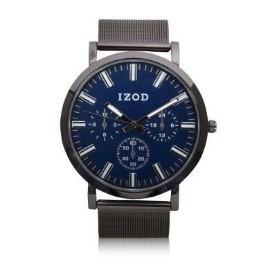 IZOD Izod Mens Silver Tone Strap Watch-Izo5232jc