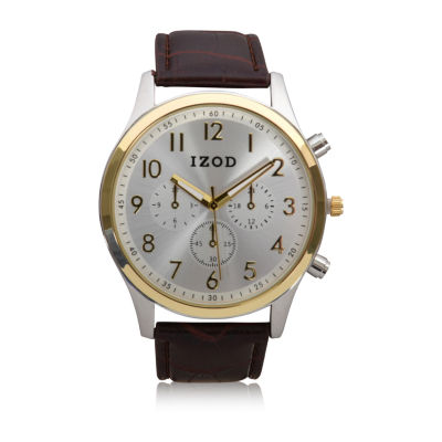 IZOD Izod Mens Brown Strap Watch-Izo8221jc