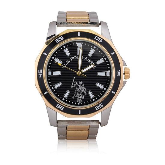 Us Polo Assn. Mens Two Tone Bracelet Watch-Usc80474jc