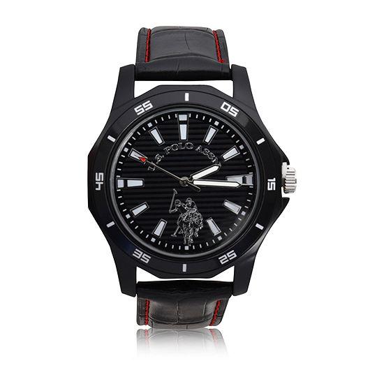 Us Polo Assn. Uspolo Mens Black Strap Watch-Usc50459jc