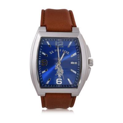 Us Polo Assn. Uspolo Mens Brown Strap Watch-Usc50516cjc