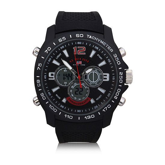 Us Polo Assn. Uspolo Mens Black Strap Watch-Us9555jc