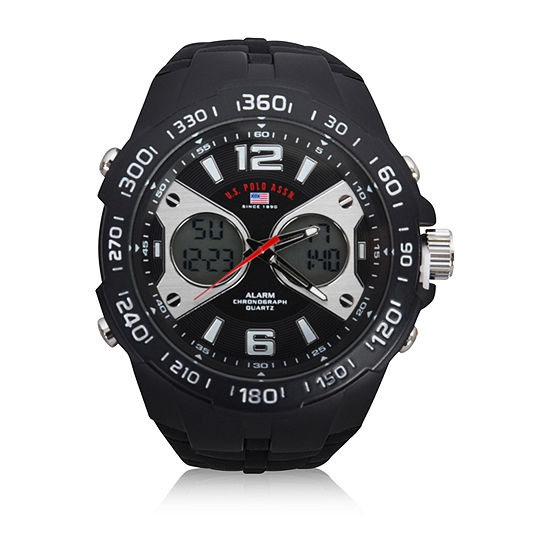 Us Polo Assn. Uspolo Mens Black Strap Watch-Us9625jc
