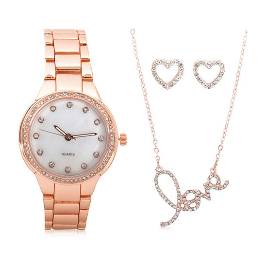 Mixit Sets Womens Rose Goldtone 4-pc. Watch Boxed Set-Wac7195jc