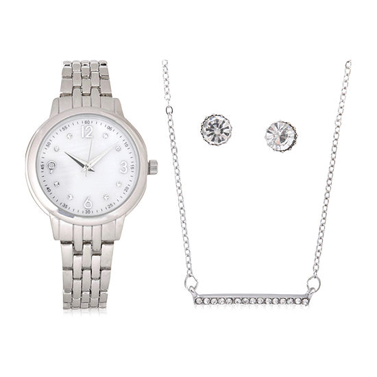 Mixit Sets Womens Silver Tone 4-pc. Watch Boxed Set-Wac7196jc