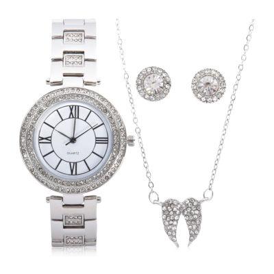 Mixit Sets Womens Silver Tone 4-pc. Watch Boxed Set-Wac7198jc