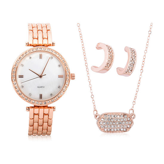 Mixit Sets Womens Rose Goldtone 4 Pc Watch Boxed Set Wac7199jc