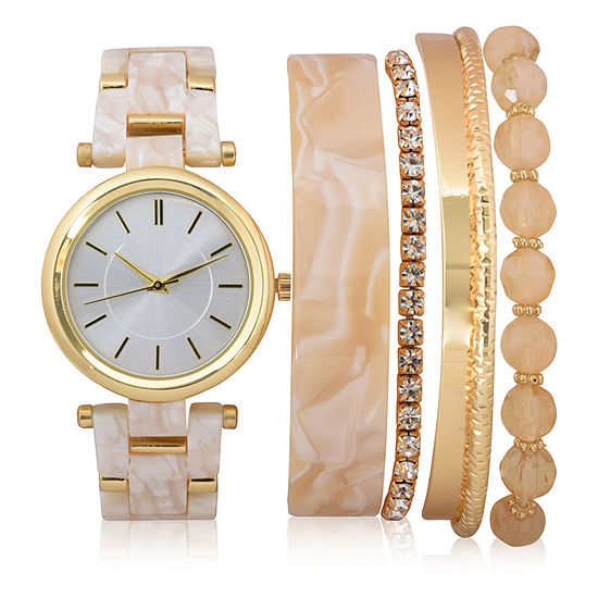Mixit Sets Womens Gold Tone Watch Boxed Set-Wac7201jc