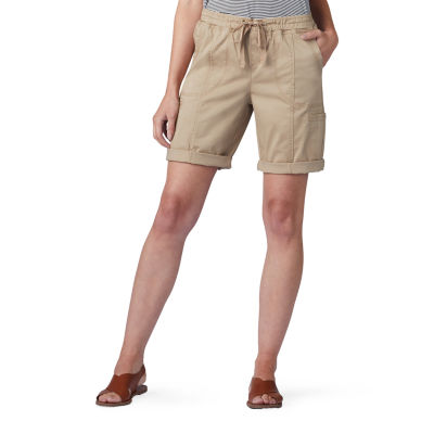 "Lee Pull On Womens Mid Rise Drawstring Waist 9 1/2"" Bermuda Short-Petite"