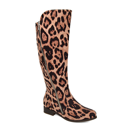 Journee Collection Womens Kerin Wide Calf Stacked Heel Zip Riding Boots