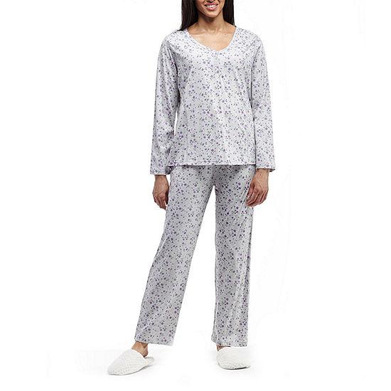 La Cera Long Sleeve Knitted Printed PJs