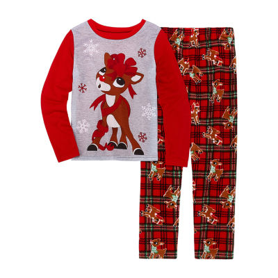 North Pole Trading Co. Family Girls 2-pc. Rudolph Pant Pajama Set Preschool / Big Kid
