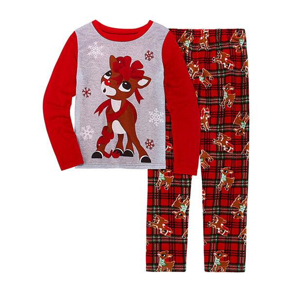 North Pole Trading Co. Rudolph Family Little Kid / Big Kid Girls 2-pc. Rudolph Pant Pajama Set