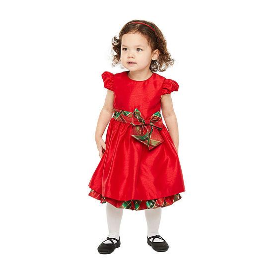 Bonnie Jean Christmas Toddler Girls Short Sleeve Party Dress
