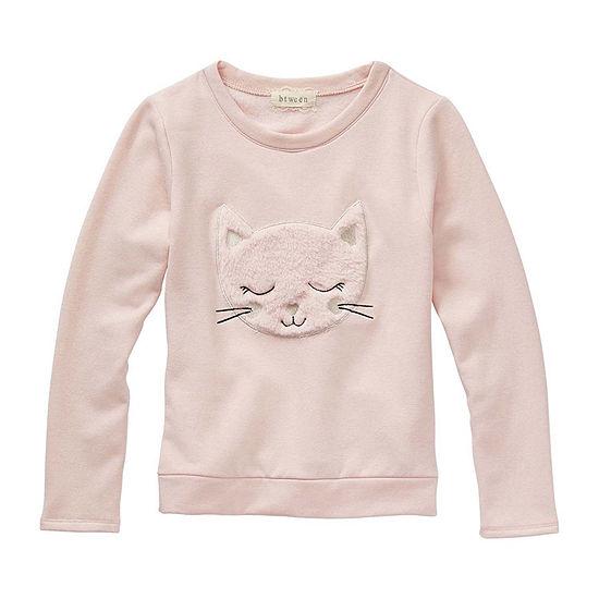 Btween - Big Kid Girls Embroidered Round Neck Long Sleeve Graphic T-Shirt