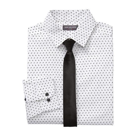 Van Heusen Boys Point Collar Long Sleeve Shirt + Tie Set Preschool / Big Kid