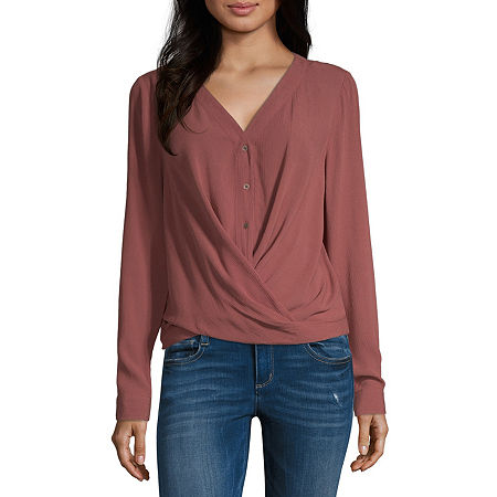 a.n.a. Womens Long Sleeve Relaxed Fit Button-Down Shirt, Small , Red
