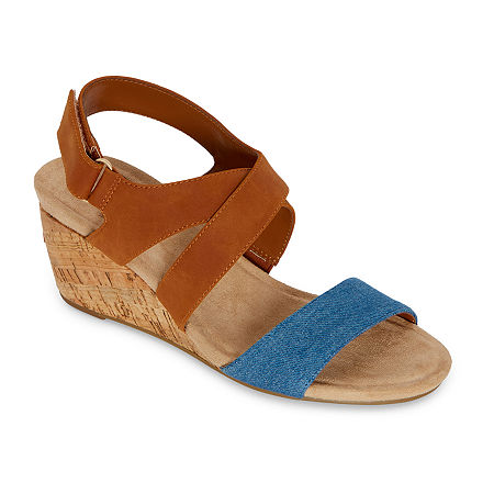 St. John's Bay Womens Pasque Wedge Sandals, 8 1/2 Wide, Blue