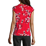 Liz Claiborne Womens Round Neck Sleeveless Blouse