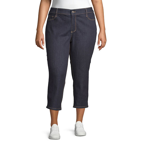 St. John's Bay Secretly Slender Mid Rise Plus Cropped Pants